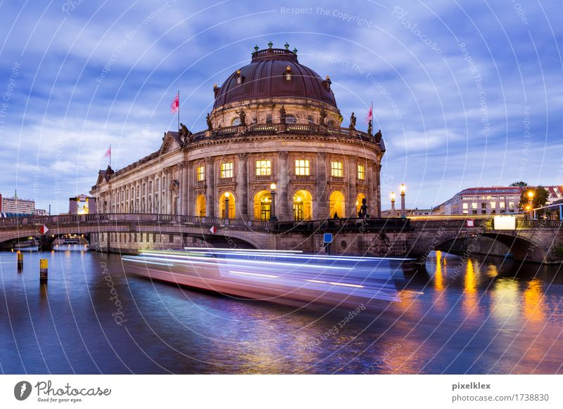 Boat on the Spree near the Museum Island Vacation & Travel Tourism Sightseeing City trip Summer Night life Art Culture Water Night sky River Berlin Germany Town