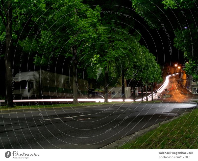 Long exposure road Evening Night Tree Transport Car Mixture Street Light
