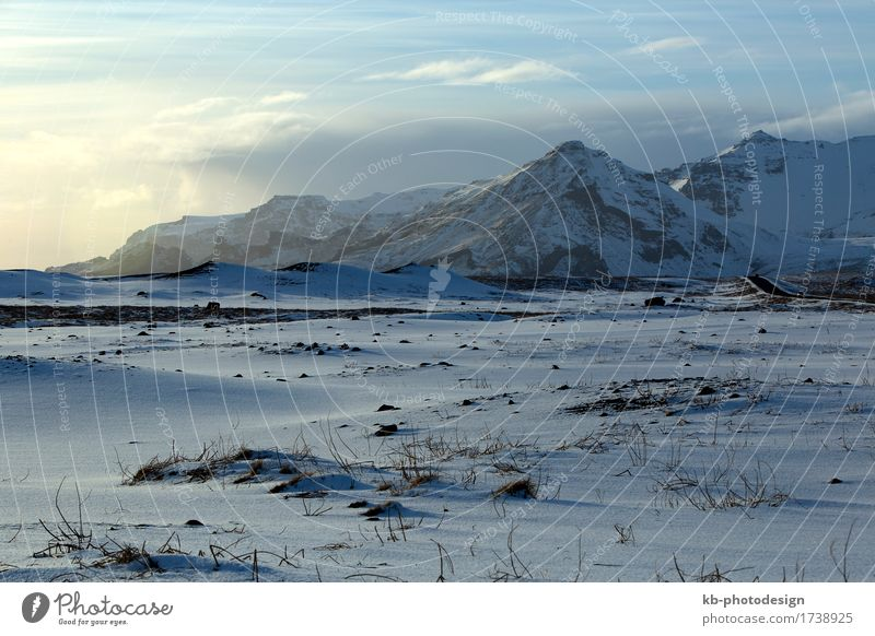 Winter landscape with blue sky in Iceland Vacation & Travel Tourism Adventure Far-off places Winter vacation Mountain Hiking wintertime sun panorama mountains