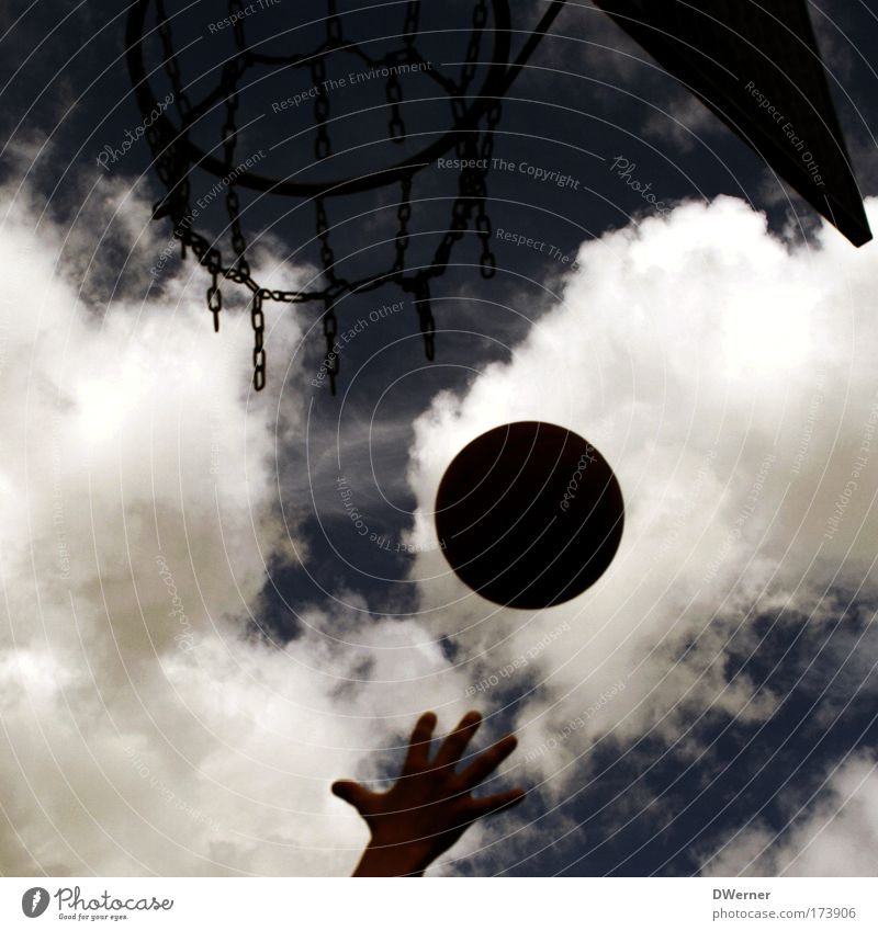 Sky Blue Hand Clouds Dark Sports Playing Gray Flying Leisure and hobbies Success Speed Round Ball Concentrate Rotate
