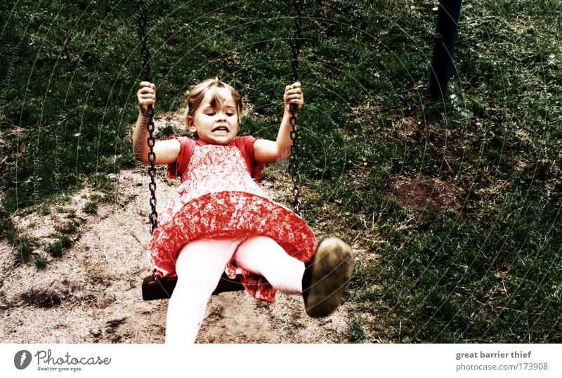 Human being Child Nature Green Red Girl Summer Meadow Happy Funny Infancy Contentment Wild Free Exceptional Authentic