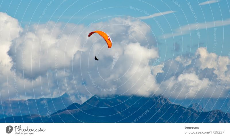 updraft Leisure and hobbies Skydiver Parachute Adventure Mountain 1 Human being Clouds Summer Beautiful weather Alps Flying Hang Free Blue Orange Bravery
