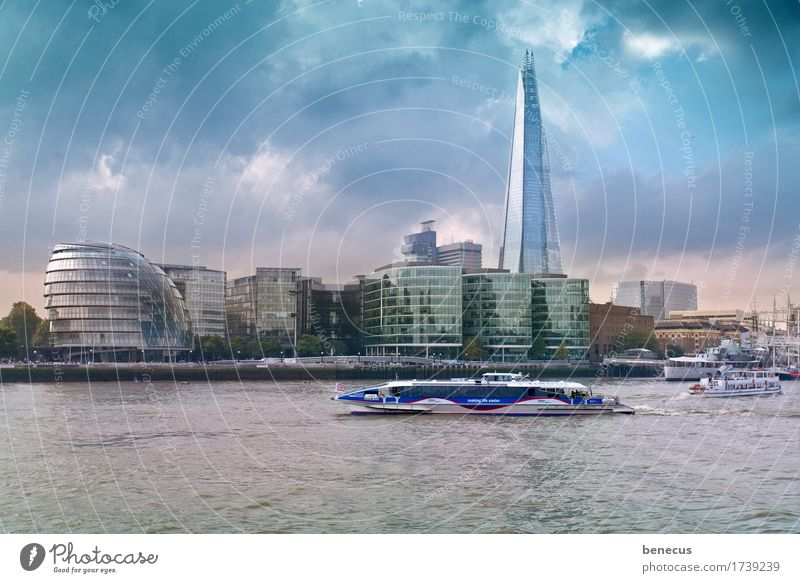 Sky Water Clouds Architecture Watercraft Growth Modern High-rise Culture Future River New Skyline Tourist Attraction Landmark Capital city