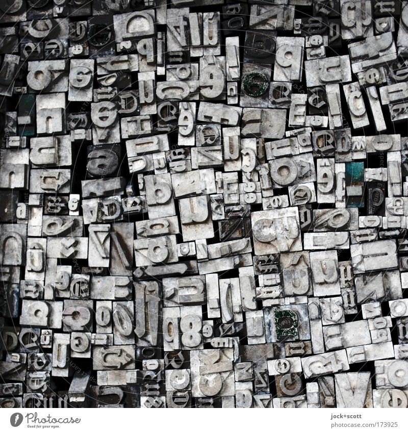 Salad of letters (collection of many hallmarks) Printing technology Pre-press Typography Collection Historic Original Retro Many Gray Authentic Chaos Innovative