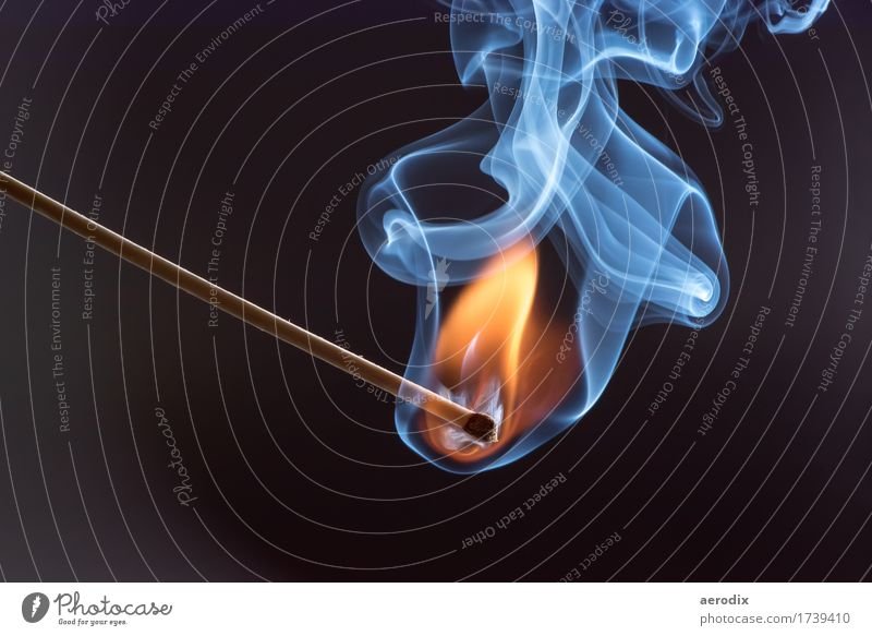 Highspeed recording of a burning match Match Fire Smoke Hot Bright Blue Yellow Orange White Style Burn Flame Colour photo Interior shot Studio shot Close-up