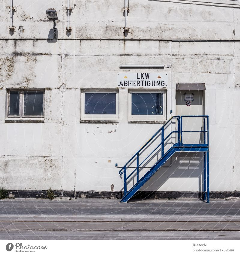 dispatch Outskirts Deserted Industrial plant Manmade structures Building Wall (barrier) Wall (building) Stairs Window Door Blue Black White Storehouse