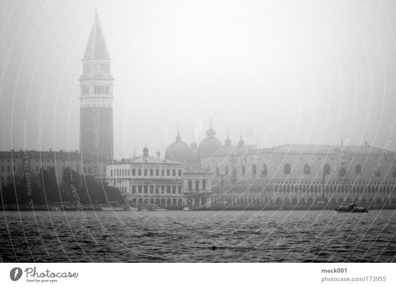 Venice in Winter II - The Campanile Black & white photo Exterior shot Light Shadow Contrast Central perspective Sightseeing City trip Cruise Italy Europe Town