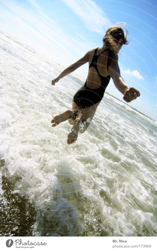 Nature Water Girl Sun Ocean Summer Joy Beach Vacation & Travel Jump Happy Feet Contentment Waves Coast Arm