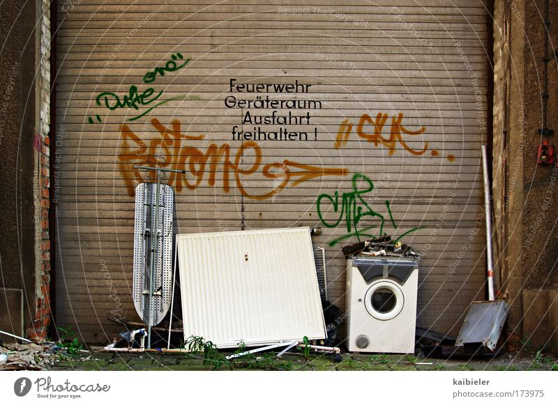Brown Trash Living or residing Transience Moving (to change residence) Decline Trashy Past Fire prevention Leipzig Bans Fire department Washer