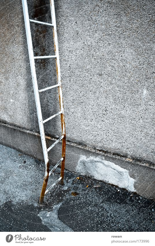 high up Colour photo Exterior shot Copy Space right Day Ladder Old Dirty Dark Broken Gloomy Rung Go up Rust Wall (building) Building Manmade structures