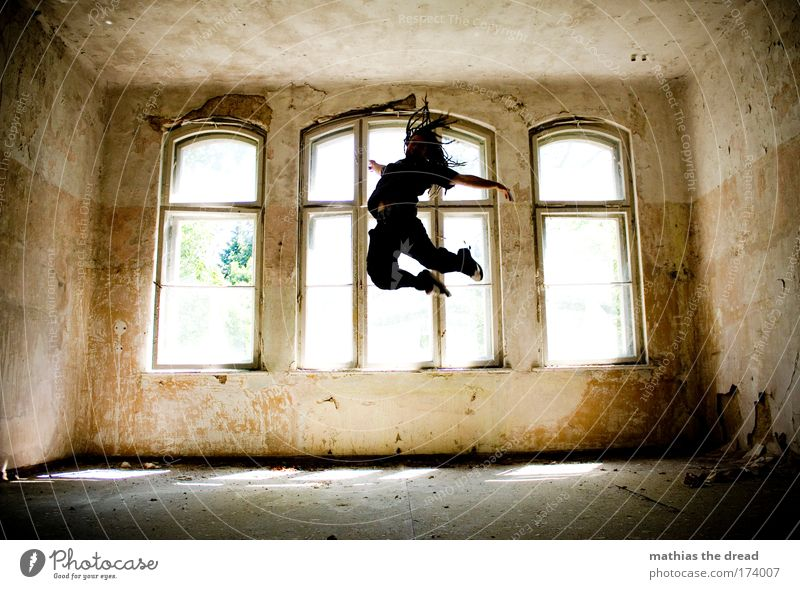Youth (Young adults) Old Joy Adults Dark Playing Architecture Jump Happy Style Leisure and hobbies Flying Masculine Esthetic Exceptional Lifestyle