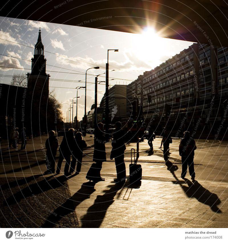 Human being City Life Movement Lanes & trails Berlin Church Lantern Landmark Motoring Downtown Downtown Berlin Tourist Attraction Capital city Traffic light