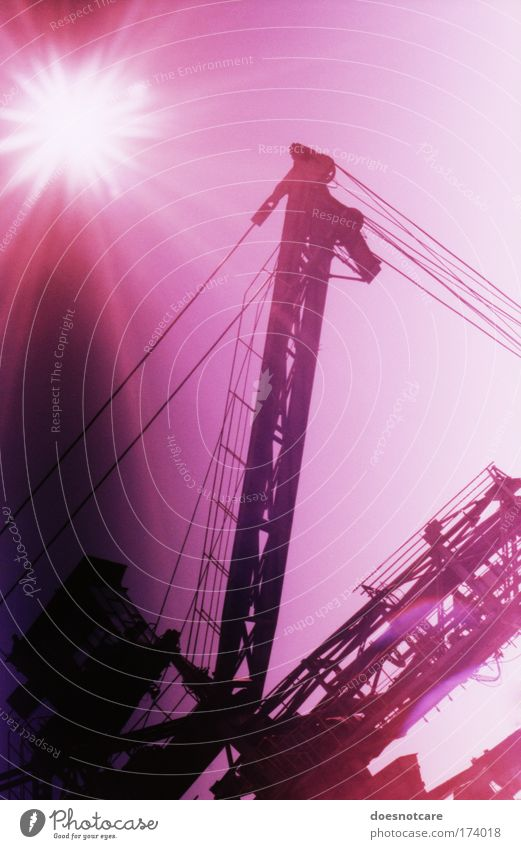 Sky Metal Pink Large Violet Analog Steel Machinery Leipzig Crane Iron Mining Gigantic Cross processing Soft coal mining Wire cable