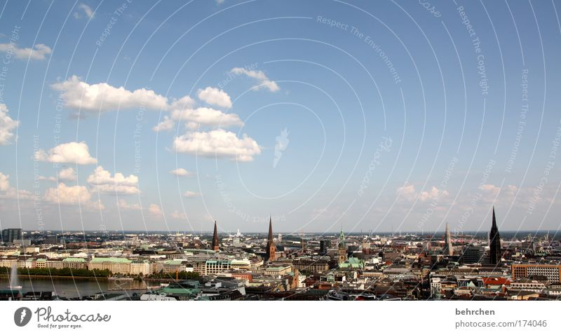 Sky City Clouds Far-off places Building Large High-rise Hamburg Church Roof Beautiful weather Vantage point Downtown Tourist Attraction Panorama (Format) Pride