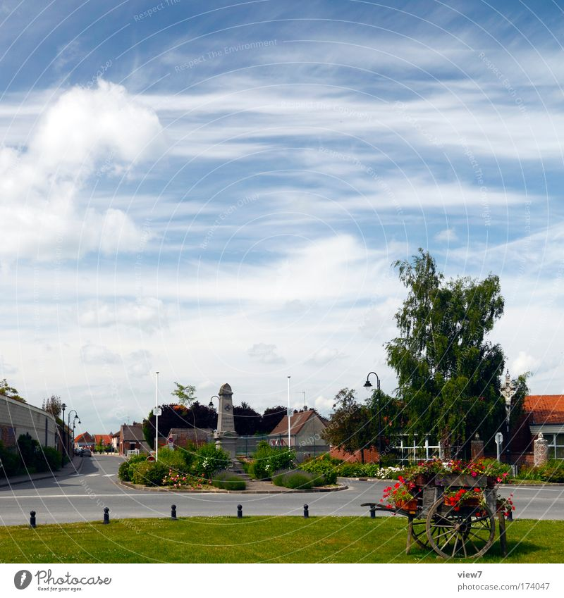 French country life Colour photo Multicoloured Exterior shot Copy Space top Day Deep depth of field Panorama (View) Nature Landscape Sky Clouds Summer
