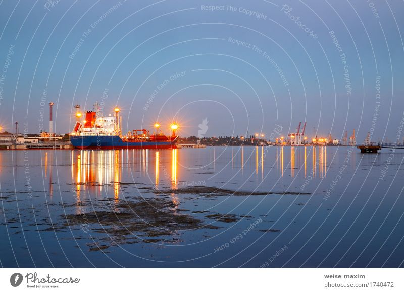 Tanker in the port. Harbor at night Vacation & Travel Blue Ocean Business Watercraft Transport Industry Logistics Harbour Dusk Jetty Storage Warehouse Container