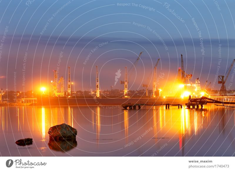Tanker in the port. Harbor at night Vacation & Travel Ocean Industry Logistics Business Landscape Water Sky Summer Beautiful weather Coast Harbour Transport