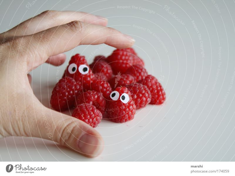 Hand Red Face Eyes Emotions Eating Healthy Fruit Fear Food Dangerous Nutrition Fingers To enjoy Catch Appetite