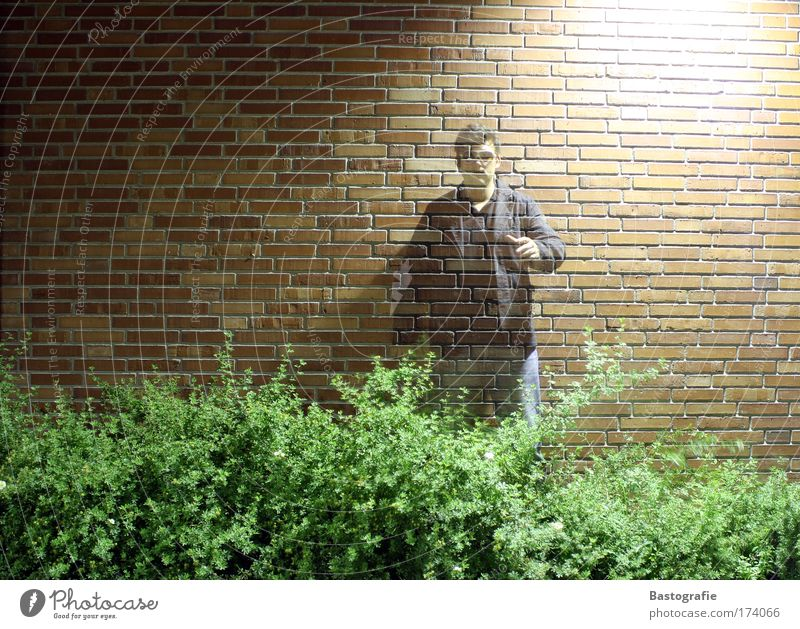 davic copperfield Colour photo Copy Space left Night Long exposure Upper body Forward Human being 1 Stand Ghosts & Spectres  Transparent Wall (barrier) Brick
