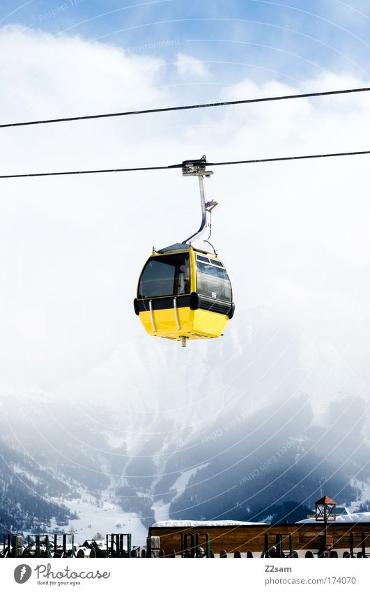 Sky Vacation & Travel Clouds Winter Snow Mountain Leisure and hobbies Rope Sports Austria Winter sports Means of transport Winter vacation Ski lift Ski resort