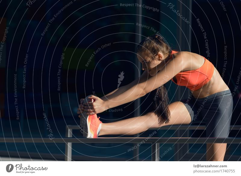 Fit young woman doing stretching exercises Human being Woman Youth (Young adults) Summer 18 - 30 years Adults Sports Lifestyle Happy Action Smiling Fitness