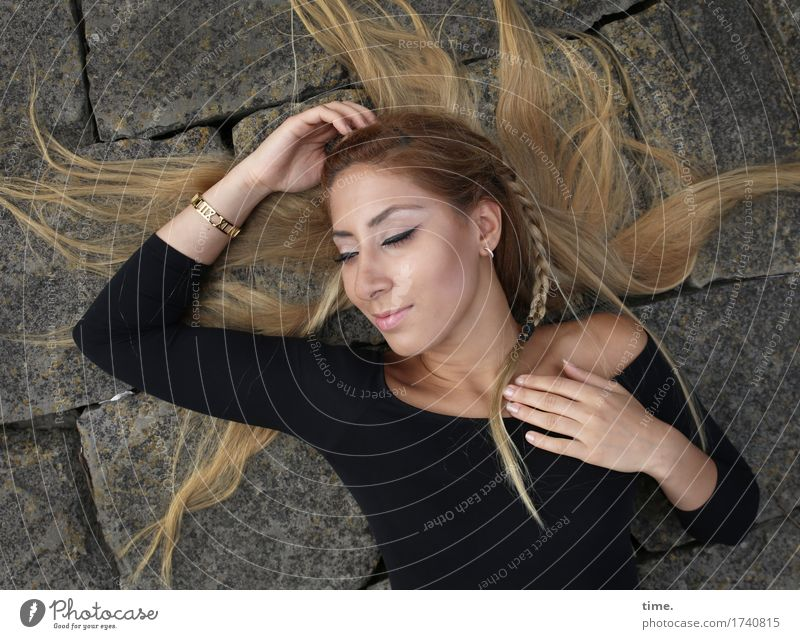 . Feminine 1 Human being T-shirt Jewellery Earring Hair and hairstyles Blonde Long-haired Braids Stone Relaxation To enjoy Smiling Lie Dream Happiness Beautiful