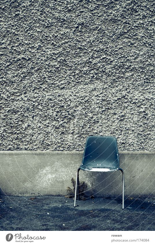 Blue Wall (building) Wall (barrier) Wait Empty Gloomy Chair Plaster Seat