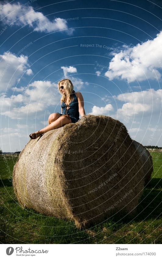 lena in heaven Colour photo Exterior shot Human being Feminine Young woman Youth (Young adults) 18 - 30 years Adults Environment Nature Landscape Grass Field