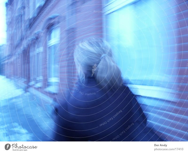 Woman Human being Blue House (Residential Structure) Street Window Movement Hannover