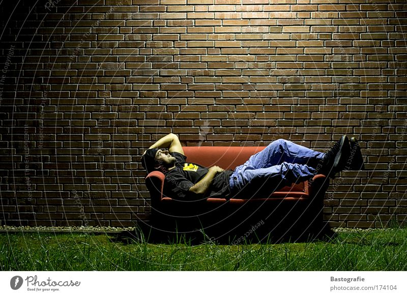 just relax for one moment Colour photo Copy Space top Night Relaxation Calm Freedom Flat (apartment) Sofa Living room Human being Masculine 1 Garden