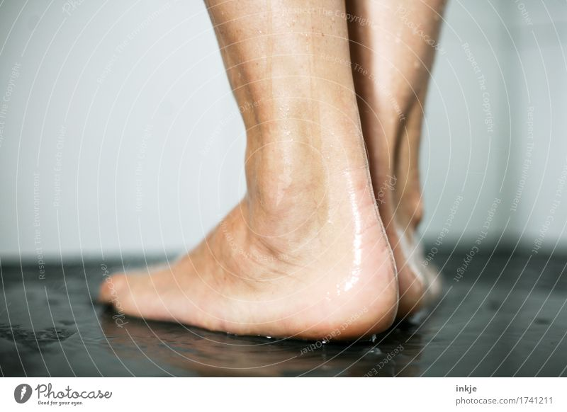 heel Personal hygiene Pedicure Take a shower Life Feet 1 Human being Stand Wet Natural Barefoot Rear view Colour photo Interior shot Close-up Copy Space left