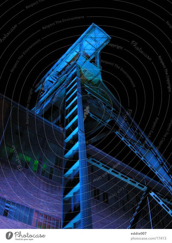 Blue Industry Tower Mining Pot Illumination The Ruhr Mine