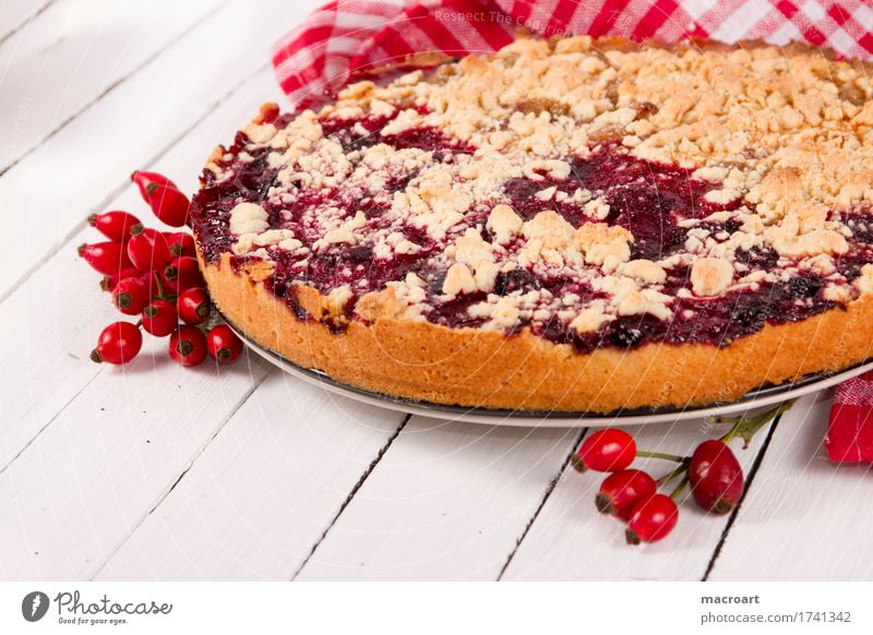 fruitcake Rose hip Dog rose streusel cake Fruit flan Baking Dessert Coffee Plum Wooden table Healthy Eating Dish Food photograph Nutrition To enjoy Brown White