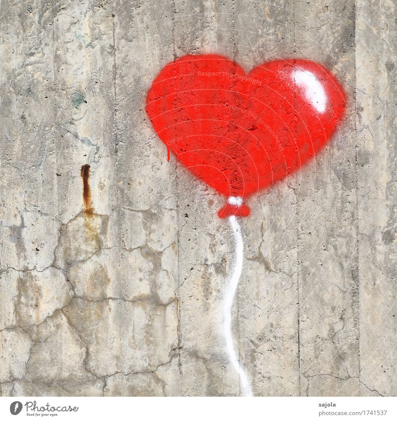 Happy Birthday Wall (barrier) Wall (building) Decoration Balloon Kitsch Odds and ends Concrete Sign Graffiti Heart Love Gray Red Street art Heart-shaped Sincere