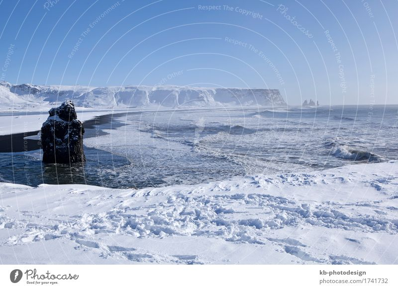 Wide lens capture of the panorama near Vik Vacation & Travel Tourism Adventure Far-off places Sightseeing Winter Winter vacation Landscape Snow Mountain Coast