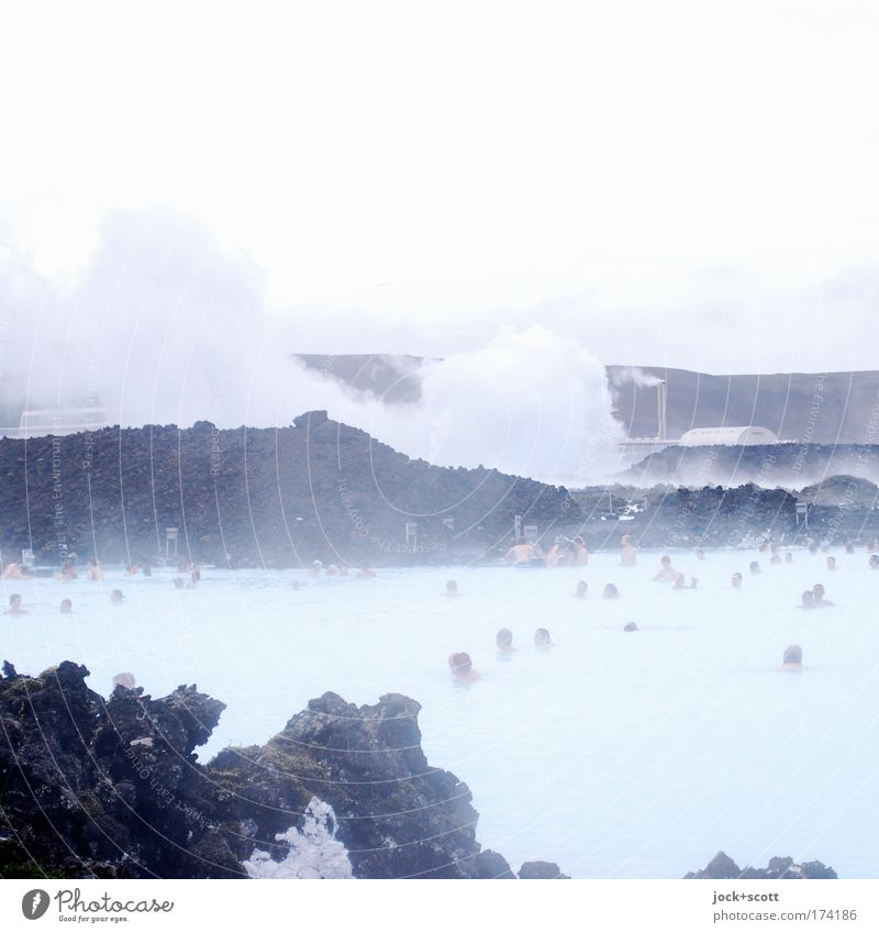 Thermal outdoor swimming pool Personal hygiene Healthy Harmonious Vacation & Travel Energy industry Hydroelectric  power plant Human being Head Group