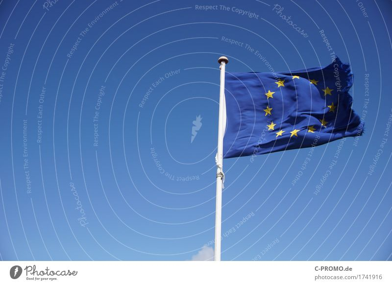 Europe damaged Sky Cloudless sky Flag Infinity Blue Agreed European flag European parliament Damage Tattered Star (Symbol) Colour photo Exterior shot Deserted