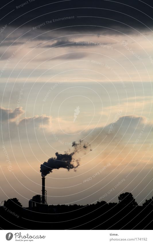 smoke sign Evening Workplace Environment Clouds Chimney Pink Environmental pollution Smoke Dusk Industry Burn atmosphere Sky Production plant Haze steamy shift