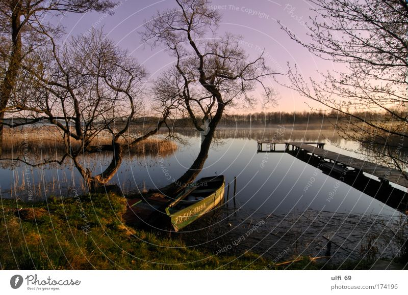Lake Masuria Colour photo Exterior shot Twilight Sunrise Sunset Wide angle Nature Landscape Water Sky Relaxation Dream Wet Natural Violet Romance Calm