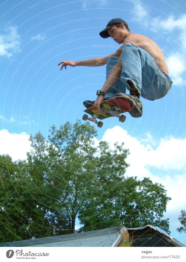 guy in the sky Jump Ramp Extreme sports Skateboarding Sky Flying