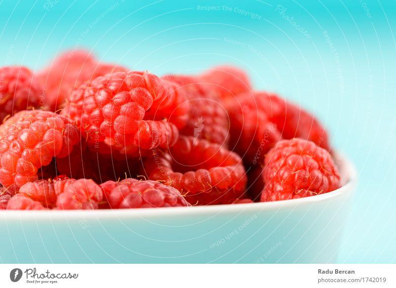 Bowl Of Fresh Raspberries Blue Colour Summer Healthy Eating Red Food Fruit Nutrition Sweet Organic produce Breakfast Turquoise Berries