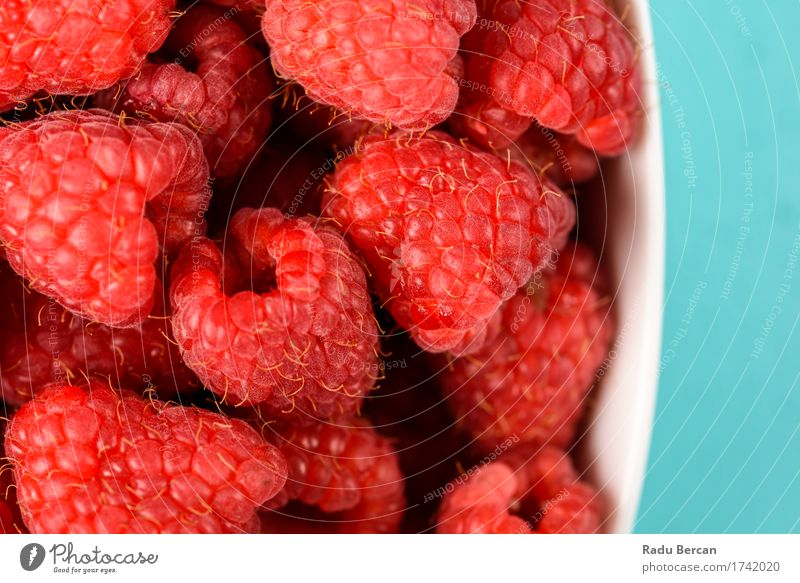 Bowl Of Fresh Raspberries Blue Colour Healthy Eating Red Food Above Fruit Nutrition Sweet Delicious Organic produce Turquoise Berries