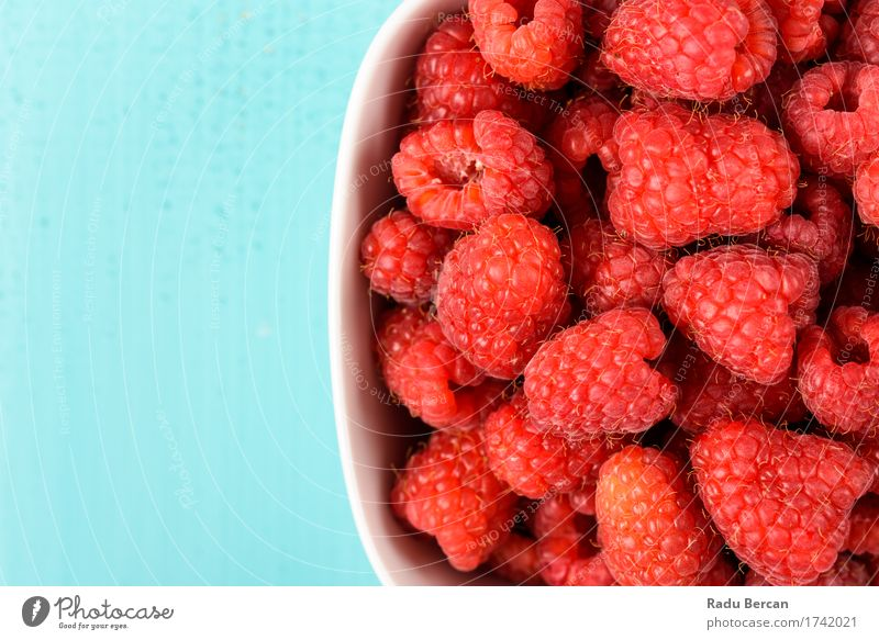 Bowl Of Fresh Raspberries Nature Blue Beautiful Healthy Eating White Red Food Fruit Nutrition Sweet Round Clean Organic produce Breakfast