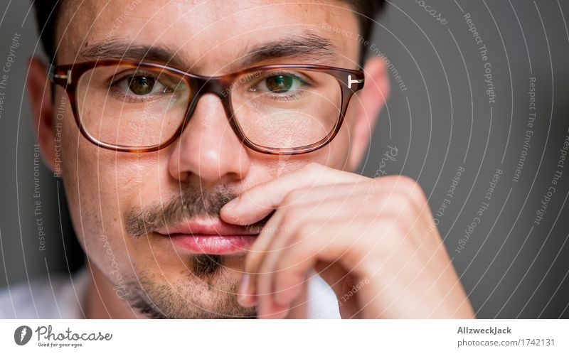 Close Portrait 2 Masculine Young man Youth (Young adults) Man Adults Face 1 Human being 30 - 45 years Eyeglasses Brunette Moustache Relaxation Testing & Control