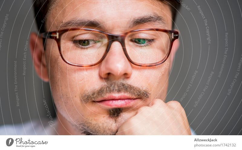 Human being Youth (Young adults) Man Young man Loneliness Calm Face Adults Emotions Masculine Eyeglasses Brunette Boredom Patient Disappointment Moustache