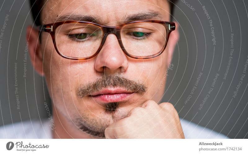 Thoughtful Human being Masculine Young man Youth (Young adults) Man Adults Face 1 18 - 30 years 30 - 45 years Eyeglasses Brunette Moustache Patient Calm Boredom