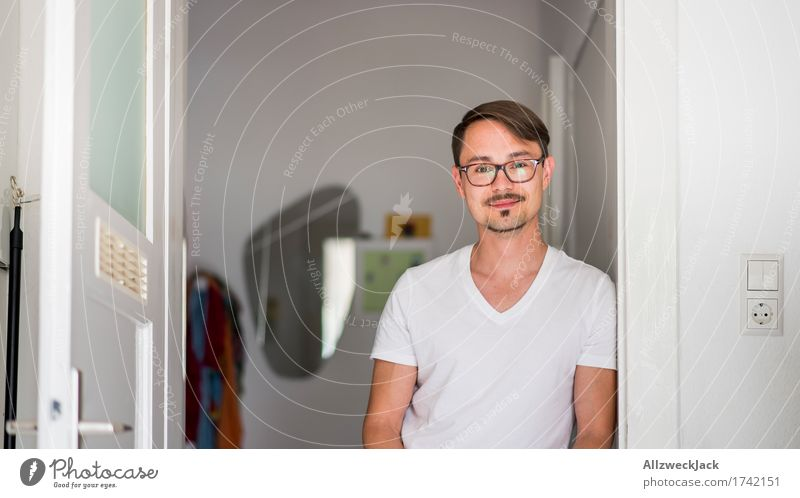 Human being Youth (Young adults) Man Young man Adults Masculine Contentment Happiness Joie de vivre (Vitality) Eyeglasses Kitchen Brunette Moustache Part 30 - 45 years Doorframe