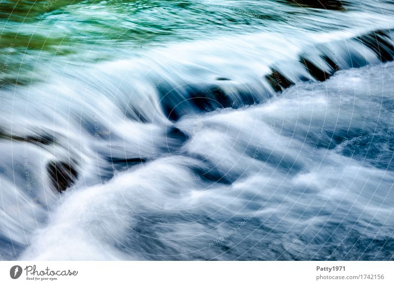 Wild Water Nature Brook River Waterfall Rapid Wet Green Turquoise Calm Energy Relaxation Speed Pure Environment Colour photo Exterior shot Day Long exposure