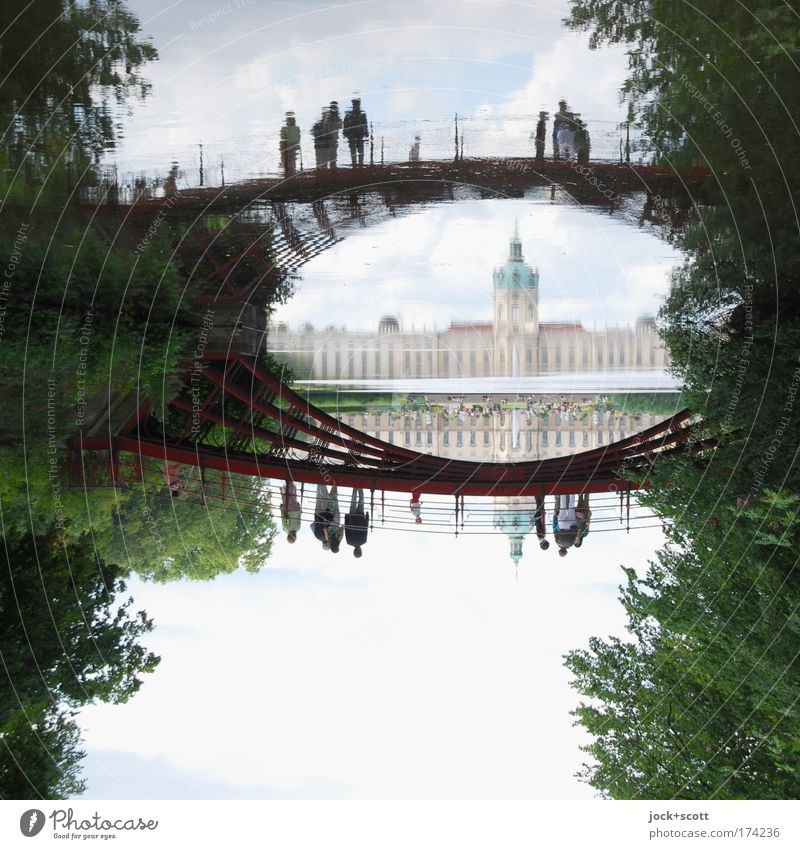 Carp pond in the castle park Sightseeing Group World heritage Sky Summer tree Park Pond Charlottenburg bridge Tourist Attraction Relaxation Famousness Elegant