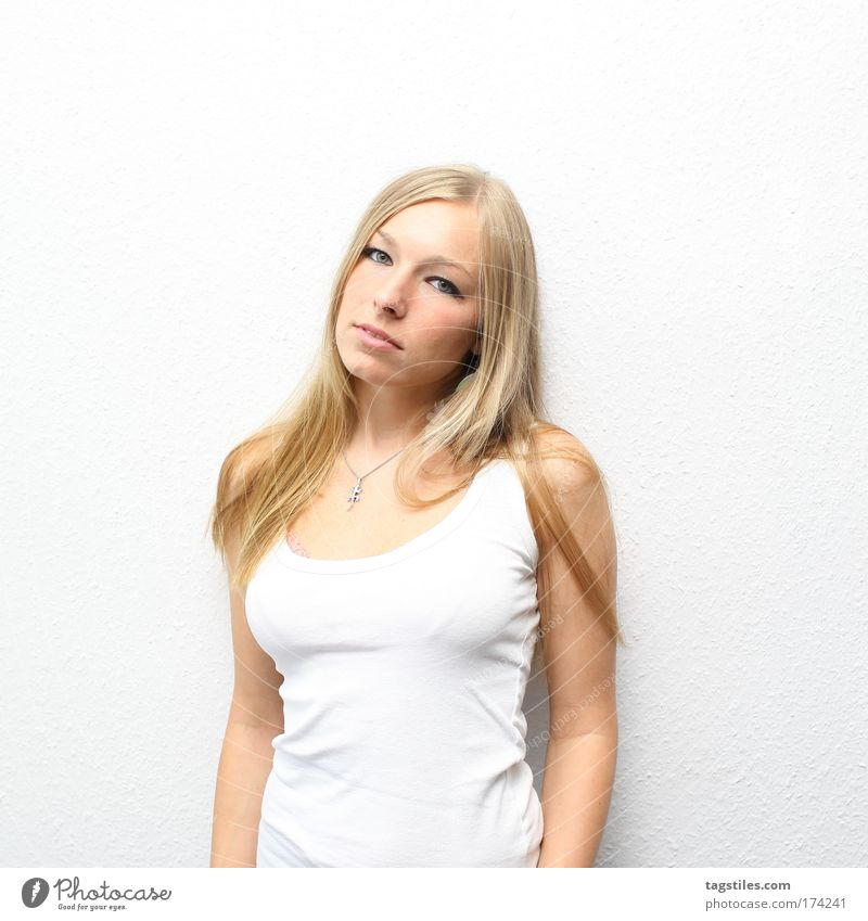 BLOND ON WHITE Woman Feminine Blonde Beautiful Beauty Photography White Sleeveless t-shirt T-shirt Ask Portrait photograph Isolated Image Copy Space top fashion